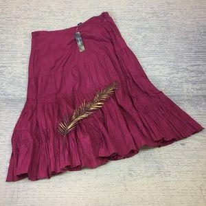 Westbound wine peasant skirt